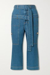 Lanvin Belted Cropped High Rise Straight Leg Jeans Blue