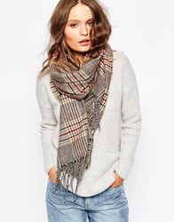 New Look Heritage Check Scarf Warmgrey