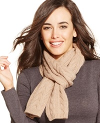 Charter Club Cable Cashmere Muffler Heather Camel