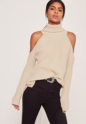 Missguided Chunky Cold Shoulder Jumper Nude Grey