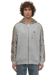 Burberry Zip Up Cotton Jersey Sweatshirt Hoodie Grey