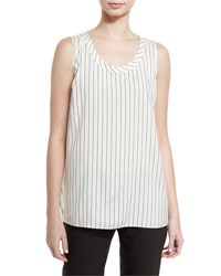 Brunello Cucinelli Striped Silk Scoop Neck Tank White Black White Black