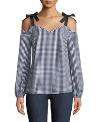 Neiman Marcus Cold Shoulder Gingham Blouse Onyx