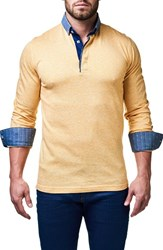 Maceoo Men's Yellow White Contemporary Fit Polo With Woven Cuffs