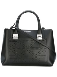 Emporio Armani Perforated Trim Tote Bag Black