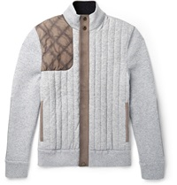 Berluti Slim Fit Suede Panelled Quilted Cashmere Jacket Gray