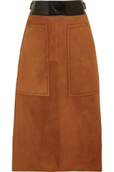 Bottega Veneta Cracked Leather Trimmed Suede Midi Skirt Camel