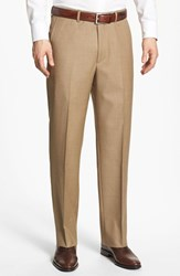 Men's Santorelli Flat Front Wool Trousers Tan