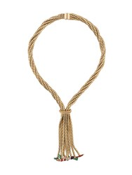 Christian Dior Vintage 1967 Twisted Drop Necklace Gold
