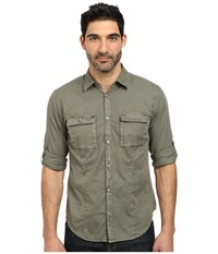 John Varvatos Two Pocket Utility Roll Up Sleeve Shirt W487r2b Olive Branch Men's Clothing