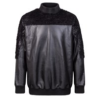 W.S. Studio Black Faux Fur And Leather Top