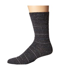 Falke Tweed Stripe Sock Anthracite Melange Men's Crew Cut Socks Shoes Black