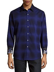Robert Graham Casual Button Down Cotton Plaid Shirt Dark Purple