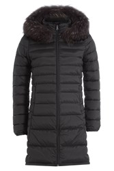 Duvetica Quilted Down Jacket With Fur Trim Black
