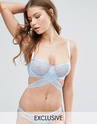 Wolf And Whistle Blue Lace Open Cup Underwire Bra Blue
