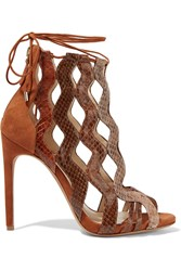Alexandre Birman Loretta Cutout Watersnake And Suede Sandals Camel