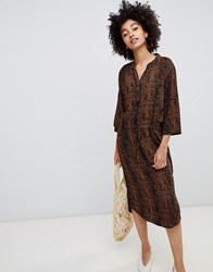 Soaked In Luxury Leopard Print Shirt Dress Multi Color