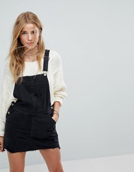 Hollister Denim Dungaree Dress Black Destroy