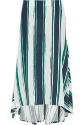 Chloe Asymmetric Striped Silk Midi Skirt Green