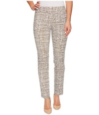 Krazy Larry Pull On Ankle Pants Taupe White Spiderweb Women's Dress Pants Beige