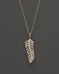 Kc Designs Diamond Feather Necklace In 14K Yellow Gold 16