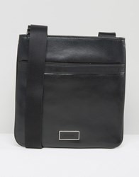 Calvin Klein Ck Tyler Flat Crossover Leather Bag Black