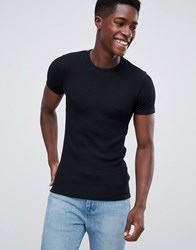 New Look Ribbed T Shirt In Black
