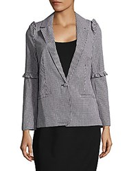 Saks Fifth Avenue Red Gingham Check Ruffled Jacket Black White