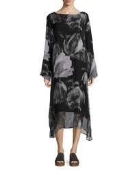 Eskandar Double Layer Printed Chiffon A Line Dress Black