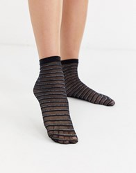 Gipsy Glitter Stripe Sheer Mesh Sock In Black And Silver