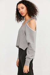 Silence And Noise Asymmetrical Cold Shoulder Top Grey