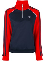 Adidas Originals Zipped Neck Longsleeved Jersey Women Cotton Polyester 46 Blue