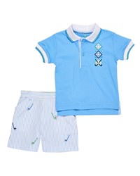 Florence Eiseman Golf Polo And Seersucker Shorts Size 12 24 Months Blue White