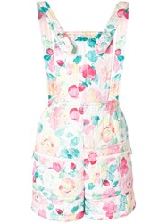 Chanel Vintage Floral Print Quilted Dungarees White