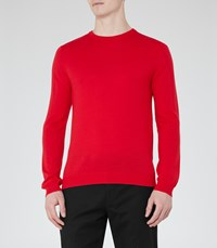 Reiss Hart Mens Merino Wool Jumper In Red