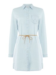 Salsa Denim Long Sleeve Shirt Dress Denim Light Wash