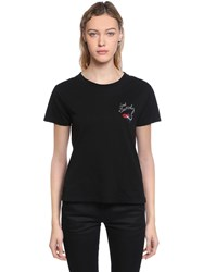 Saint Laurent Mouth And Logo Print Cotton Jersey T Shirt