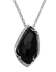 Lord And Taylor Sterling Silver Black Onyx Diamond Pendant Necklace