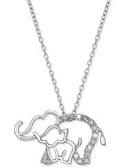 Macy's Diamond Elephant And Baby Pendant Necklace 1 10 Ct. T.W. In Sterling Silver