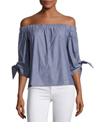 Romeo And Juliet Couture Off The Shoulder Cotton Blouse Blue
