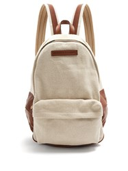 Brunello Cucinelli Canvas And Leather Trimmed Backpack Cream Multi