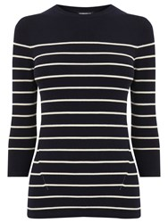 Warehouse Breton Stripe Crew Jumper Navy