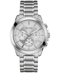 Bulova Men's Chronograph Stainless Steel Bracelet Watch 40Mm 96A176 Silver