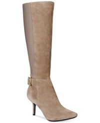 Calvin Klein Julietta Wide Calf Dress Boots Women's Shoes Winter Taupe
