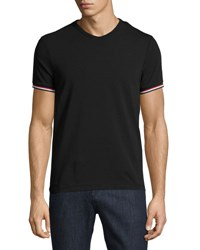 Moncler V Neck T Shirt With Tricolor Striped Sleeves Black