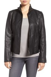 Eileen Fisher Rumpled Luxe Genuine Leather Stand Collar Jacket Black