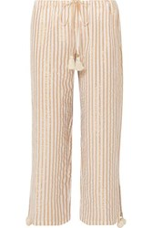 Figue Goa Cropped Striped Cotton And Lurex Blend Pants Beige