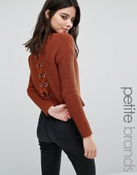 Missguided Petite Lace Up Back Boxy Jumper Choc Brown