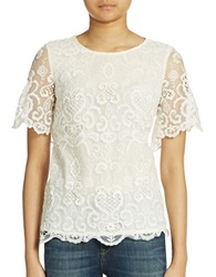 French Connection Lace Overlay Blouse Summer White