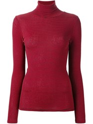 6397 Striped Turtleneck Sweater Red